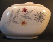 Rare American Limoges Starflower Sugar Bowl with Lid, 1960s vintage china red grey blue flowers