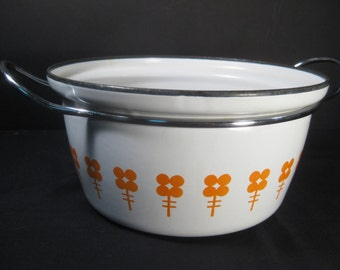 RARE Retro Vintage CathrineHolm of Norway Orange Flowers on White Enamel Dutch Oven Pot Large Saucepan Casserole, TheRetroLife