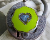 NEW Avocado Love Chunky Coins .  Picasso Czech Glass Bead (1) 20 mm