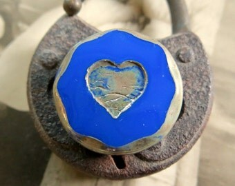 NEW Blue Love Chunky Coins .  Picasso Czech Glass Bead (1) 20 mm