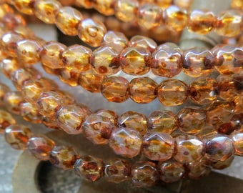 SALE Rustic Rounds . CZECH Faceted Picasso Glass Beads . 4 mm . 50 beads