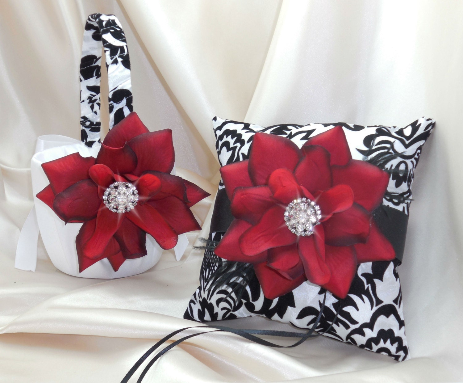 Damask Flower Girl Basket And Ring Pillow : Red and black damask ring bearer pillow or flower girl basket