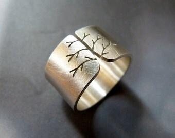 Statement Silver Tree Ring Wide Band Autumn Fall Natural Jewelry Minimalist Mood Modern Christmas Gift Idea