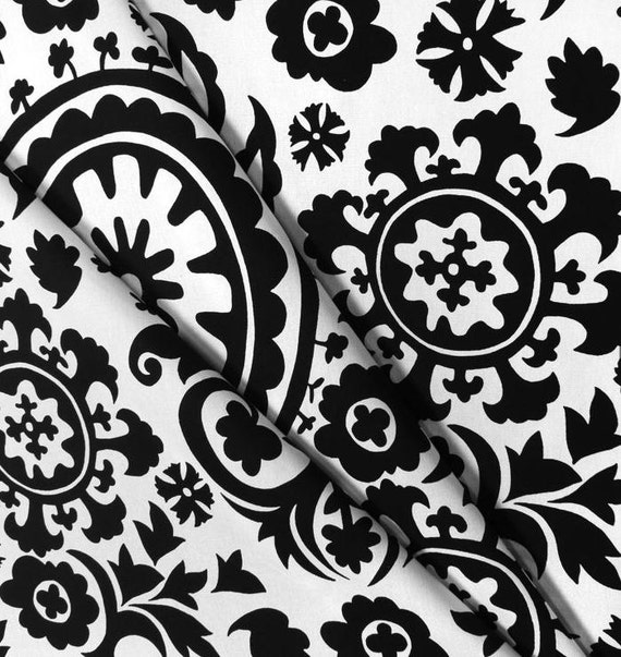 Black And White Curtain Valance Damask Floral By