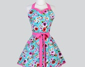 Sweetheart Retro Apron - Retro Apron Vintage Womens Apron Teal and Pink Bold Floral Cute Apron Full Kitchen Apron