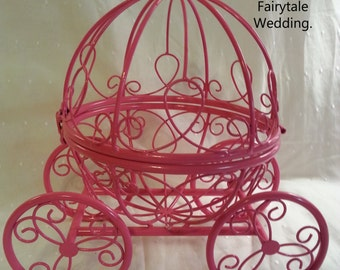 SALE Pink Cinderella Pumpkin Carriage Coach / Centerpiece / Disney Princess Birthday / Wedding Card Holder Bridal Baby Shower