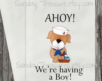 12 Baby Shower  Favor Bags / AHOY we're having a BOY / Sailor Dog / Cookie / Candy Buffet / Party Favor Gift Bag / Table Decor / 3 Day Ship