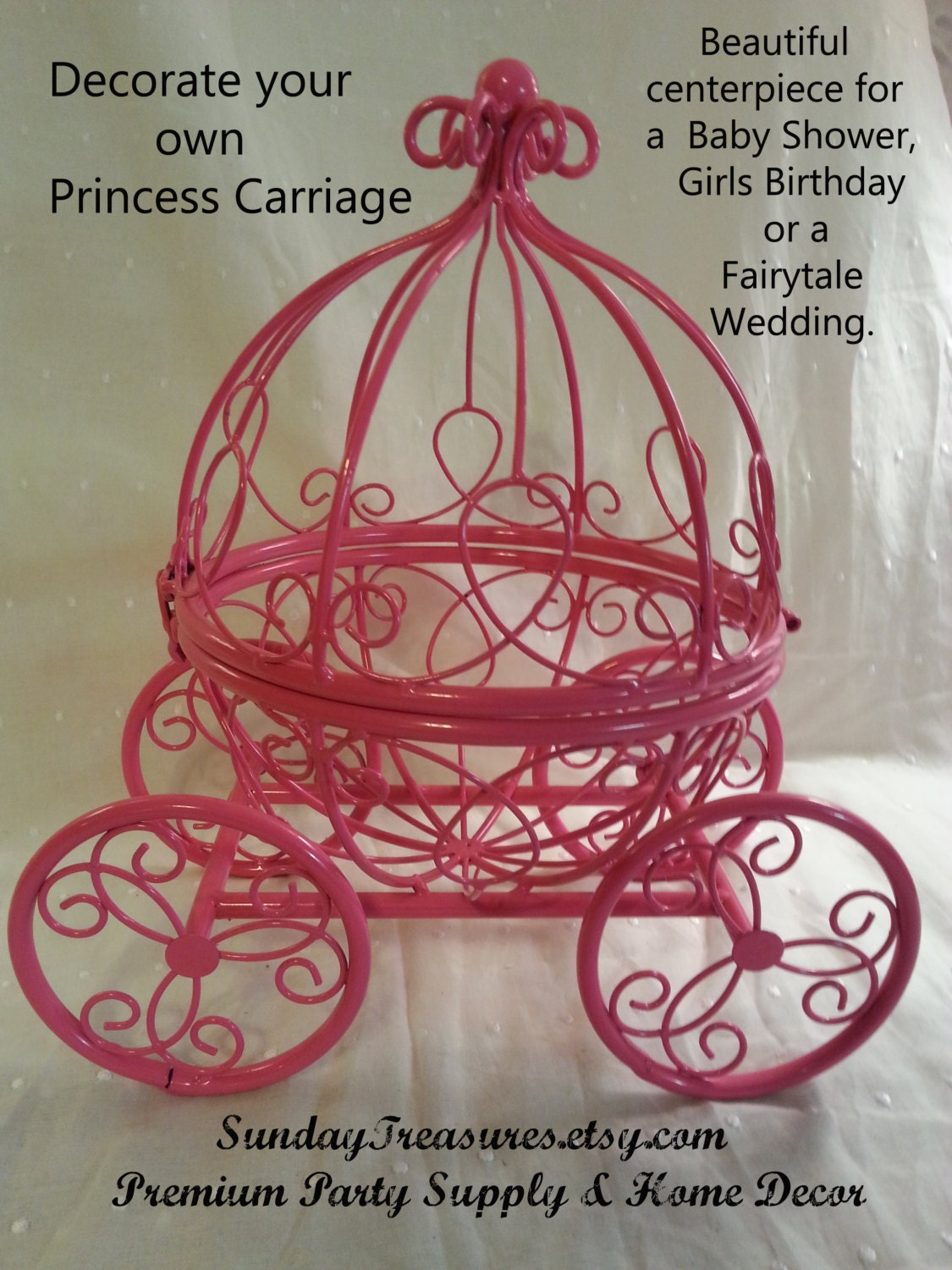 SALE Pink Cinderella Pumpkin Carriage Coach / Centerpiece /