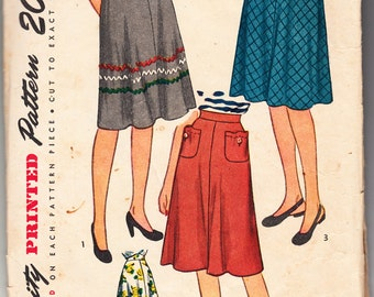 Vintage 1945 Simplicity 1659 Sewing Pattern Misses', Women's Skirt Size 24