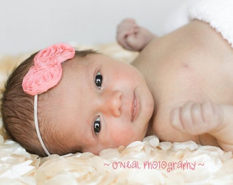 Baby Headband, Newborn Headband, Baby Girl Headband , Dainty Chiffon Bow,Headband - Newborns Headband Infants Babies Toddlers photo prop