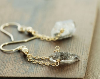 Herkimer Diamond Earrings in 14k Gold Fill, April Birthstone Jewelry, Gold Dangle Modern Minimal Jewelry