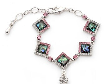 Mother of Pearl Diamond-shaped Cubic Zirconia Rhinestone Ball Dangle Colorful Dark Green Shell Link Bracelet