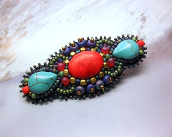 Bright RED CORAL and TURQUOISE Glass Beaded Alligator Hair Clip