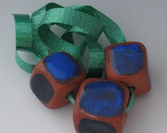 Beads, Ceramic Beads, Ceramic Square Beads, Ceramic Blue Squarel Bead, Ceramic