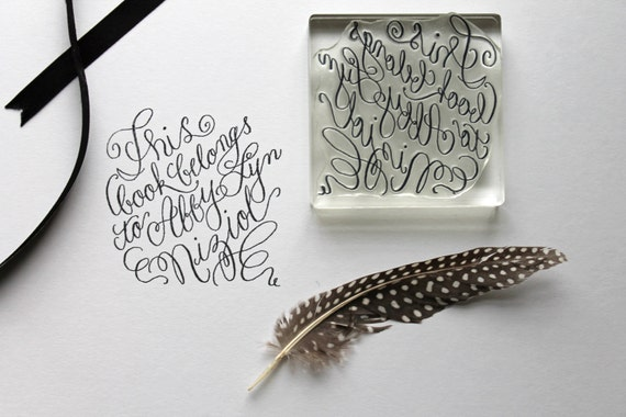 Custom calligraphy book plate stamp