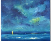 Night sky cloud painting, sailboat painting, night ocean painting, cloud painting 12x12 Cobalt blue, bright blue, yellow sailboat