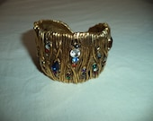 Vintage Gold Brass Sweet Colored Rhinestone Accented Cuff Bracelet