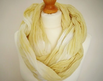 Discounted - Mellow Yellow Extra Long Cotton Snood Infinity Scarf - Naturally Dyed - Womens Organic Summer Beach Accessory