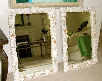 "Beach Decor -- Seashell Mirror with Coral and Starfish - 24"" x 36"""