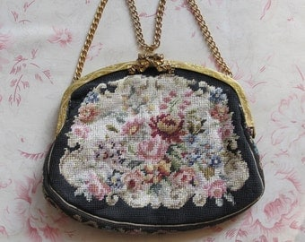 25% Off 1930s Evening Purse Bag Petit Point Frame Hand Embroidered Flowers Pink Roses Gold Toned Bow Clasp & Chain Handle Austria
