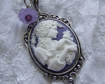 Cameo Pendant - GODDESS IN GARDEN - Dove - purple flower -  purple and white - Woman Girl Lady - Curly Haired Lady