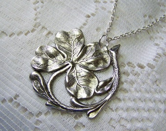 Silver Victorian CLOVER Necklace - Large Shamrock, Irish jewelry, four leaf clover, SHAMROCK Pendant - Statement Piece