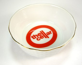 Macy's The Cellar White and Red Small Ceramic Bowl, Basket Weave, Keys or Loose Change Holder, Home Decor