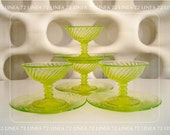 Twisted Optic Canary Yellow Vaseline Glass Sherbets & Plates