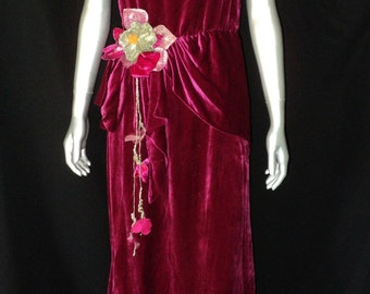 1930's Deep Magenta Silk Velvet Dress/Gown Scarf Waist with Fabulous Silver Lame Flower and leaves
