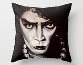 Fan Art Inspired Rocky Horror Picture Show DR Frankenfurter Throw Pillow Cover MADE to ORDER Tim Curry Sweet Transvestite