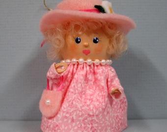 Pink Bonnet Girl Flowerpot Bell Ornament