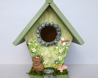 Spring Mini Birdhouse with Puppy