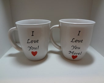 Handpainted Wedding Mugs, I Love You More mugs set of 2, Personalized Mugs, Handpainted Mugs, Couple Mugs