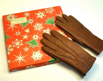 Antique 1930s girl's leather gloves, MINT condition, wool fleece lining, in original Christmas gift box from Bullocks Los Angeles