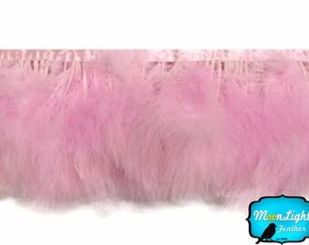 Fluffy Feathers, 1 Yard - LIGHT PINK Marabou Turkey Fluff Feather Fringe Trim : 3506