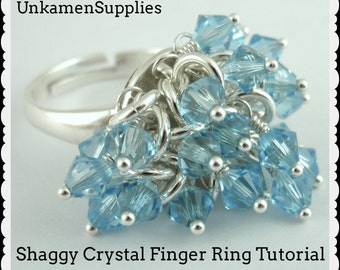Shaggy Crystal Finger Ring Tutorial -  Instant Download PDF