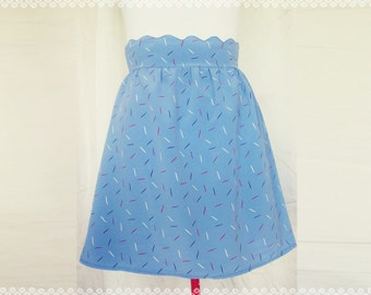 Party on Cloud Nine Scalloped Waist Skirt - Printed Blue Skirt, OOAK Size Medium