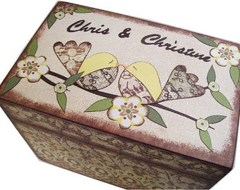 Recipe Box, Decoupaged, Large Handcrafted Box, Rustic Lace Birds, Holds 4x6 Recipe Cards Storage Organization  MADE TO ORDER