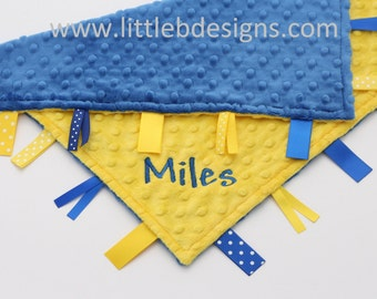 Cobalt Blue Minky with Canary Yellow Tag Blanket  Ribbon Lovey - Personalized