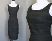 Vintage 50s Dress Black 1950s Cocktail Party Cotton Eyelet Tiered Ruffles Sleeveless Wiggle Dress Pencil XS