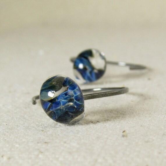 Blue Glass Drop Earrings, Mottled Teardrops, Oxidized Sterling Silver