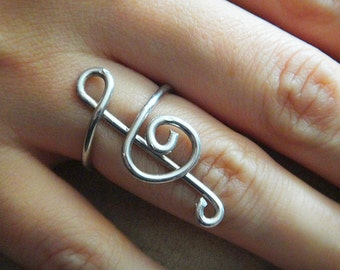 Music Ring, Music Lover, Silver treble clef ring, wire wrap ring, wire wrap music jewelry (R56)