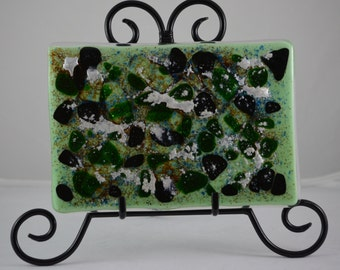 Fused Glass Panel in Green