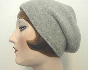 Pure Cashmere Rollup hat, Slouch beanie, cuff hat, lite gray  FREE SHIPPING in the US