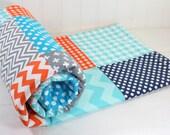 Baby Blanket, Minky Blanket, Boy Blanket, Crib Blanket, Photography Prop, Gray, Orange, Turquoise, Navy Blue and Aqua Blue Chevron, Dots