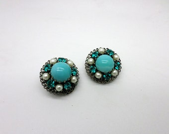 SALE Vintage Costume Jewelry Clip On Earrings Made in Austria Faux Turquoise Faux Pearl