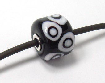 Glass Lampwork bead  -  Black & White Mod  -  slider, sterling silver rivet, big hole bead, bhp