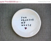 Ring bowl jewelry holder wedding day gift - you changed my world jewelry Wedding ring bearer - claylicious