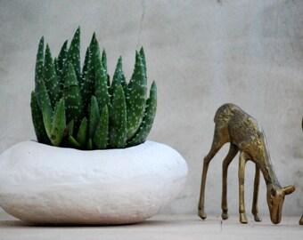 ceramic planter  home decor, beach stone shaped, hipster chic, garden succulents