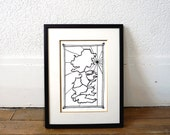 Map of Westeros Game of Thrones, from hand-cut paper-cut map